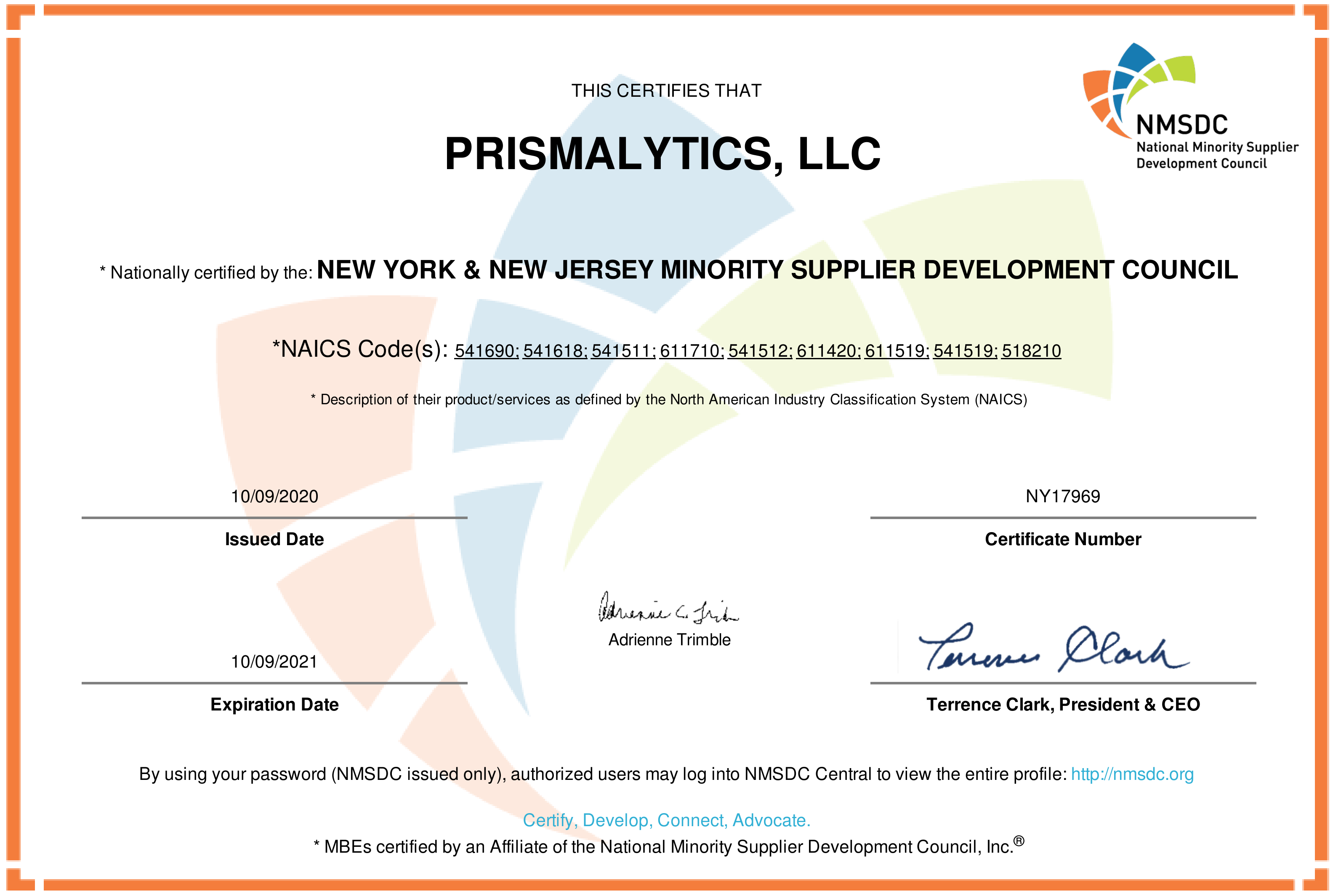 PRISMALYTICS NYNJ NMSDC CERTIFICATION